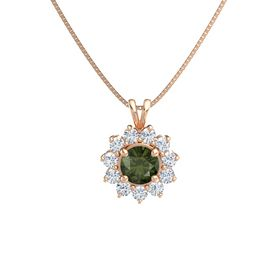 Round Green Tourmaline 14K Rose Gold Pendant with Diamond
