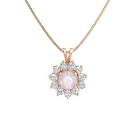 Round Rose Quartz 14K Rose Gold Necklace with Diamond