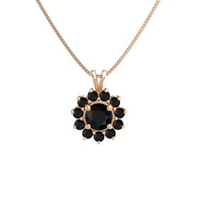 Round Black Onyx 14K Rose Gold Pendant with Black Onyx