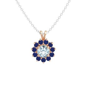 Round Aquamarine 14K Rose Gold Pendant with Blue Sapphire