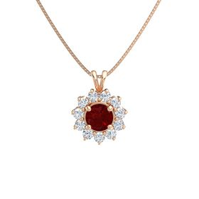 Round Ruby 14K Rose Gold Necklace with Diamond
