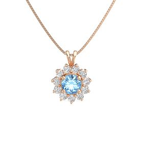 Round Blue Topaz 14K Rose Gold Necklace with White Sapphire