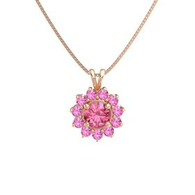 Round Pink Tourmaline 14K Rose Gold Pendant with Pink Tourmaline