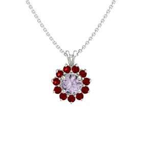 Round Rose de France 14K White Gold Pendant with Ruby
