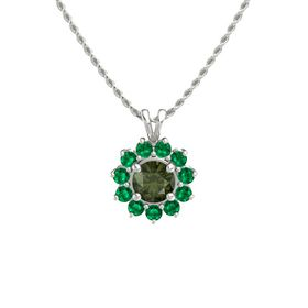 Round Green Tourmaline 14K White Gold Pendant with Emerald