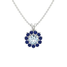 Round Aquamarine 14K White Gold Pendant with Blue Sapphire