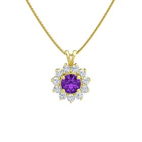 Round Amethyst 14K Yellow Gold Pendant with Diamond