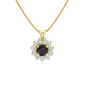 Round Black Diamond 14K Yellow Gold Necklace with Diamond