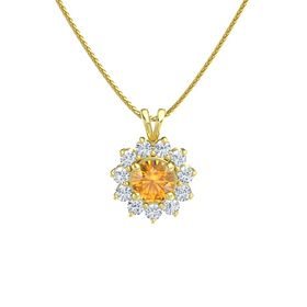 Round Citrine 14K Yellow Gold Pendant with Diamond
