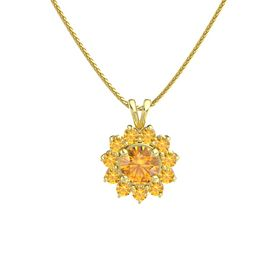 Round Citrine 14K Yellow Gold Necklace with Citrine