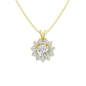 Round White Sapphire 14K Yellow Gold Necklace with Diamond