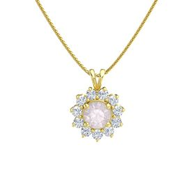 Round Rose Quartz 14K Yellow Gold Pendant with Diamond