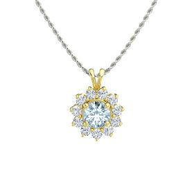 Round Aquamarine 14K Yellow Gold Pendant with Diamond