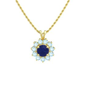 Round Blue Sapphire 14K Yellow Gold Pendant with Blue Topaz