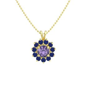 Round Iolite 14K Yellow Gold Necklace with Sapphire