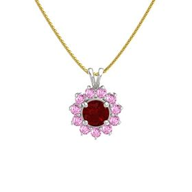 Round Ruby 18K White Gold Pendant with Pink Sapphire