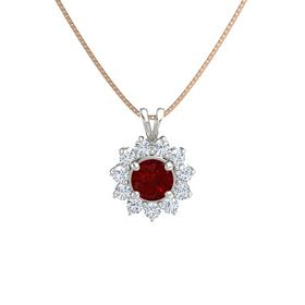 Round Ruby Platinum Necklace with Diamond