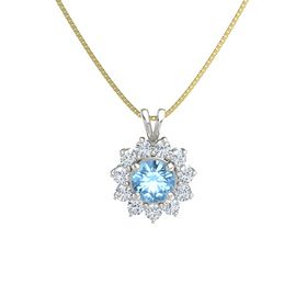 Round Blue Topaz Platinum Pendant with Diamond