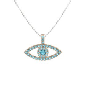 Round London Blue Topaz 14K Rose Gold Pendant with London Blue Topaz
