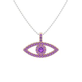 Round Amethyst 14K Rose Gold Necklace with Amethyst