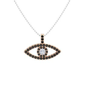 Round Diamond 14K Rose Gold Pendant with Black Diamond