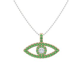 Round Diamond 14K Rose Gold Necklace with Emerald
