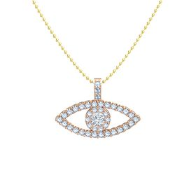 Round Diamond 14K Rose Gold Pendant with Blue Topaz