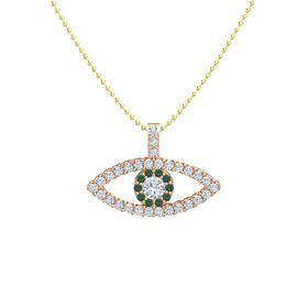 Round Diamond 14K Rose Gold Pendant with Alexandrite and Diamond