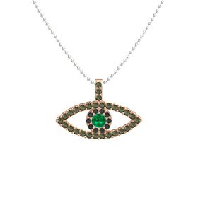 Round Emerald 14K Rose Gold Pendant with Black Diamond and Green Tourmaline
