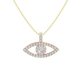 Round White Sapphire 14K Rose Gold Necklace with Diamond