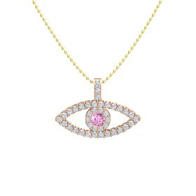 Round Pink Sapphire 14K Rose Gold Pendant with Diamond
