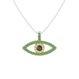 Round Green Tourmaline 14K Rose Gold Necklace with Peridot & Emerald