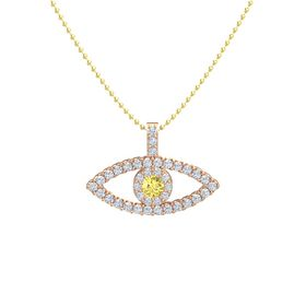 Round Yellow Sapphire 14K Rose Gold Pendant with Diamond