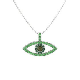 Round Green Tourmaline 14K White Gold Necklace with Alexandrite & Emerald