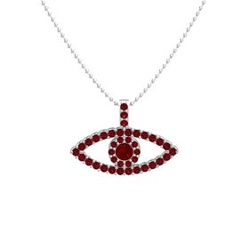 Round Ruby 14K White Gold Pendant with Ruby