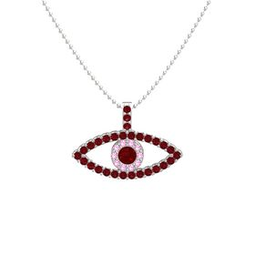 Round Ruby 14K White Gold Pendant with Pink Tourmaline and Ruby