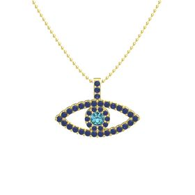 Round London Blue Topaz 14K Yellow Gold Necklace with Sapphire