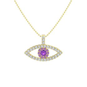 Round Amethyst 14K Yellow Gold Necklace with Amethyst & Diamond