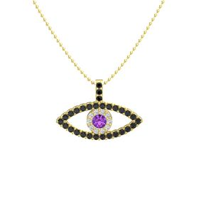 Round Amethyst 14K Yellow Gold Necklace with White Sapphire & Black Diamond
