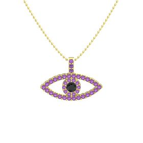 Round Black Diamond 14K Yellow Gold Necklace with Amethyst