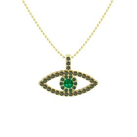 Round Emerald 14K Yellow Gold Pendant with Alexandrite and Green Tourmaline