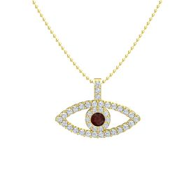 Round Red Garnet 14K Yellow Gold Necklace with Diamond
