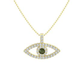 Round Green Tourmaline 14K Yellow Gold Necklace with Diamond