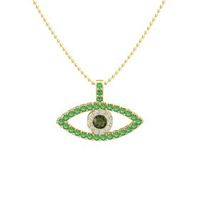 Round Green Tourmaline 14K Yellow Gold Pendant with White Sapphire and Emerald