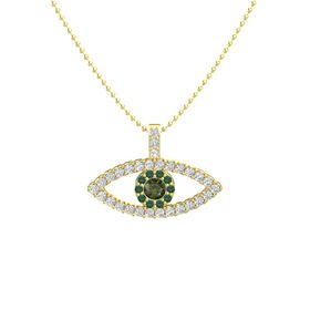 Round Green Tourmaline 14K Yellow Gold Necklace with Alexandrite & White Sapphire