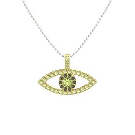 Round Peridot 14K Yellow Gold Pendant with Green Tourmaline and Peridot