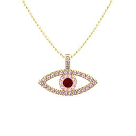 Round Ruby 14K Yellow Gold Pendant with Pink Tourmaline and Rhodolite Garnet