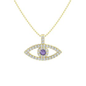 Round Iolite 14K Yellow Gold Necklace with Diamond