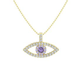 Round Iolite 14K Yellow Gold Pendant with Iolite and Diamond