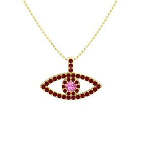 Round Pink Tourmaline 14K Yellow Gold Pendant with Ruby